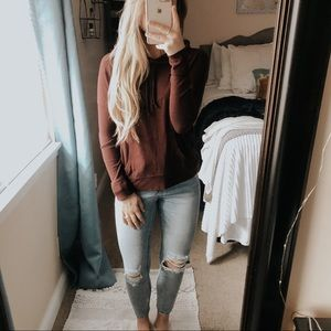 American Eagle Maroon Lounging Hoodie Pullover